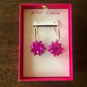 NWT Betsy Johnson Pink Bow Earrings